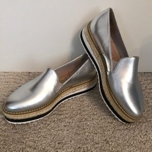 Women's silver slide on shoes size 5.5